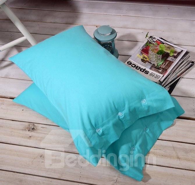 Modern Solid Turquoise 4-Piece Cotton Duvet Cover Sets