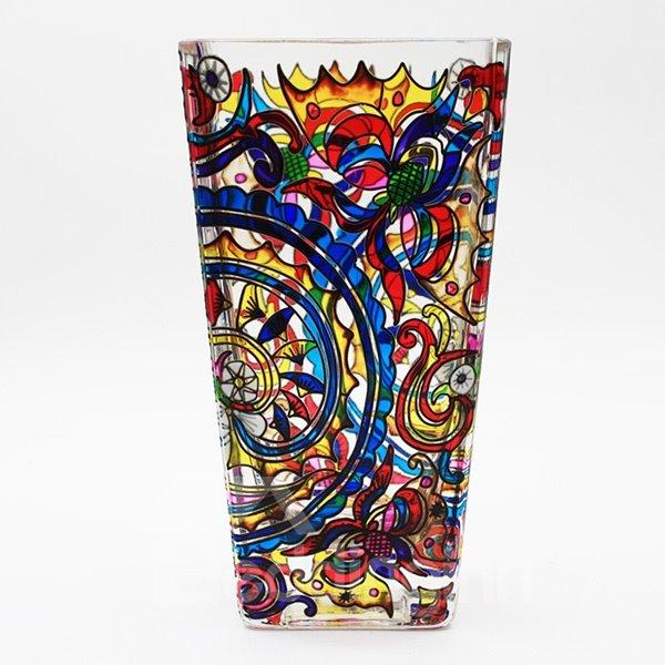 Gorgeous Colorful Hand Painting Flower Pattern Desktop Decoration Flower Vase