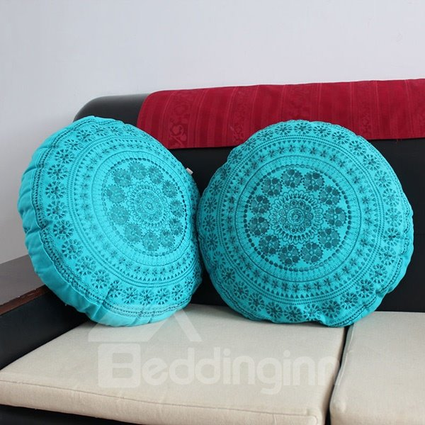 Ethnic Style Turquoise Embroidery Round Throw Pillow