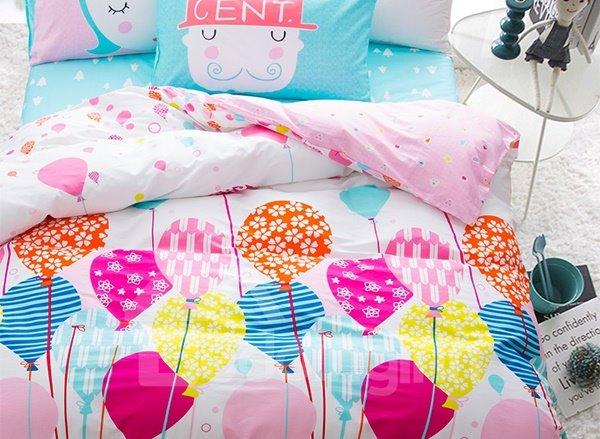 Likable Colorful Ballon Pattern 4-Piece Cotton Kids Duvet Cover Sets