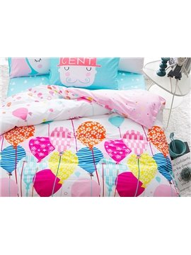 Likable Colorful Ballon Pattern 4-Piece Cotton Kids Duvet Cover Sets