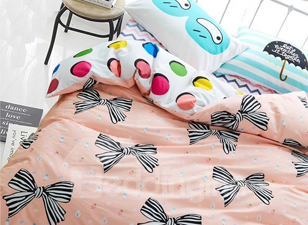 Cute Stripe Bowtie Print 4-Piece Cotton Kids Duvet Cover Sets