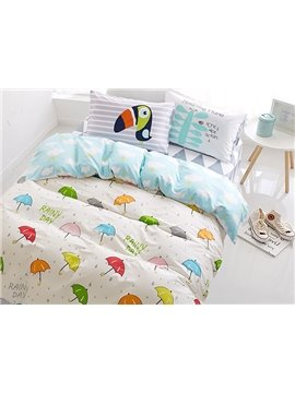 Colorful Umbrella and Raindrop Print 4-Piece Cotton Kids Duvet Cover Sets