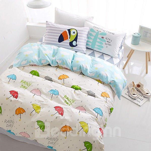 Colorful Umbrella and Raindrop Print 4-Piece Cotton Kids Duvet Cover Sets