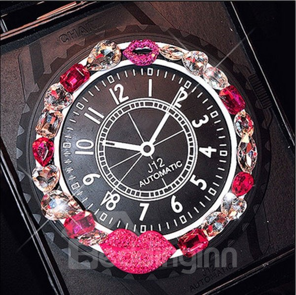Super Exquisite Watch Style With Lips And Diamond Car Decoration Non-Slip Mat Creative Car Decor