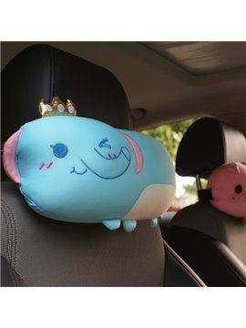 Sky Blue Elephant Cartoon Pattern Car Headrest Pillow
