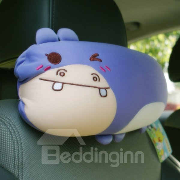 Cool Naughty Hippo Cartoon Style And Environment Material Car Headrest Pillow