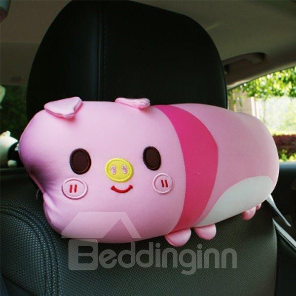 Charming Pink Cartoon Pig Attractive Car Headrest Pillow