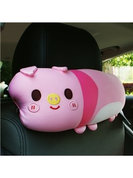 Charming Pink Cartoon Pig Attractive Car Headrest Pillow