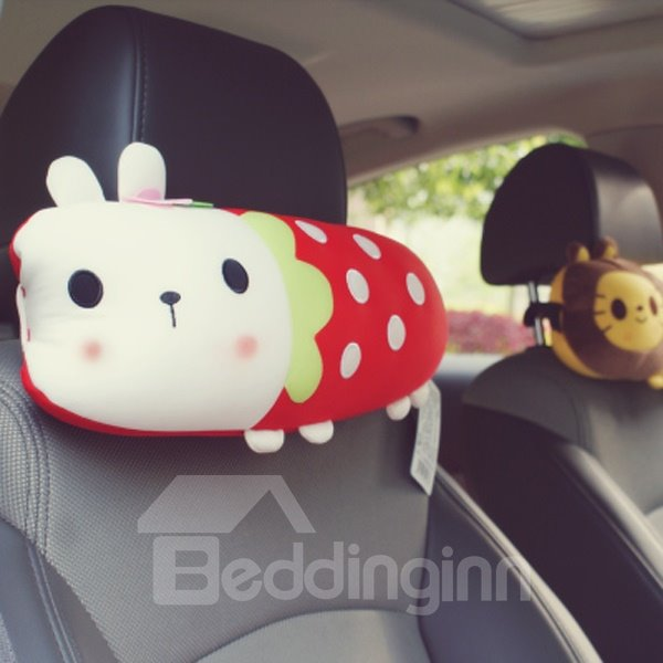Beautiful And Interesting White Rabbit Cartoon Style Car Headrest Pillow