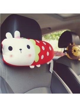 Beautiful And Interesting White Rabbit Cartoon Style Car Headrest Pillow