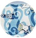 Cute Cartoon Dog Print Custom Blue Roman Shades