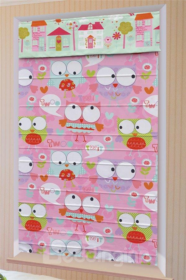 Cute Cartoon Owl with Big Eyes Custom Pink Roman Shades