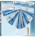 Oil Painting Boat Sailing in the Blue Sea Print Roman Shades