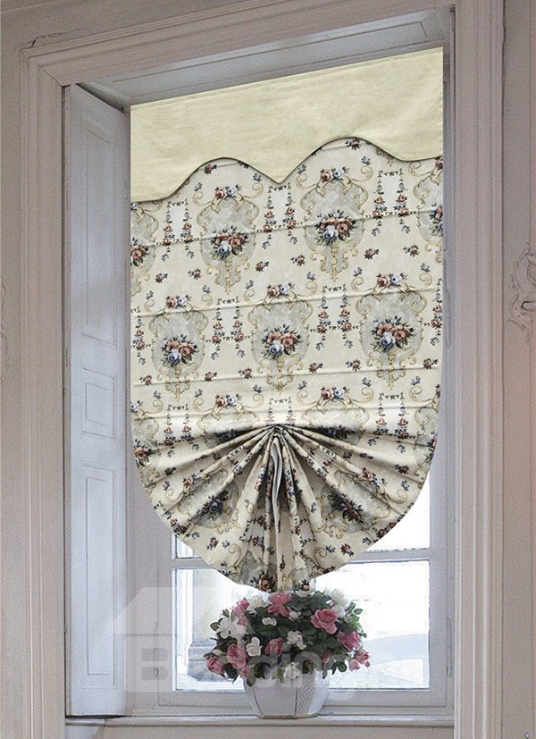 Modern Rose Decorative Pattern Custom Blending Roman Shades