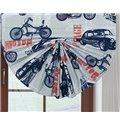 Retro Motorcycles and Car Print Custom Roman Shades