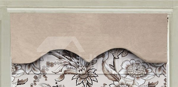 Concise Vine Flower Print Roman Shades with Pure Colored Valance