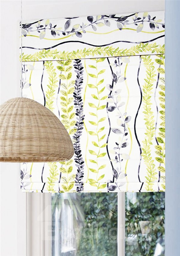 Black and Green Leaves Stripes Print Custom Roman Shades