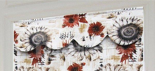 Oil Painting Red Sunflower Blending Roman Shades