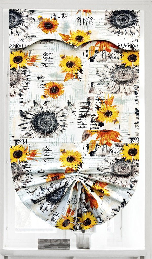 Country Style Oil Painting Golden Sunflower Roman Shades