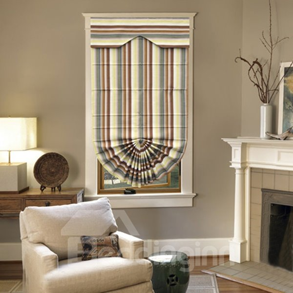 Concise Decorative Colorful Stripes Print Roman Shades