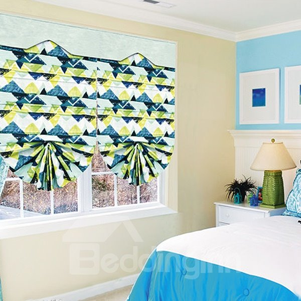 Home Decor Green and Blue Triangular Color Block Roman Shades