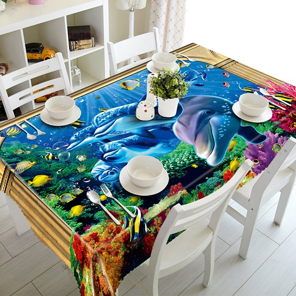 Blue Dolphins and Fishes Pattern Polyester 3D Tablecloth