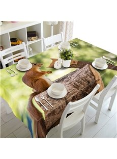 Lovely Polyester Squirrel Pattern 3D Tablecloth