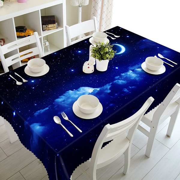 Dark Blue Polyester Moon and Star Pattern 3D Tablecloth