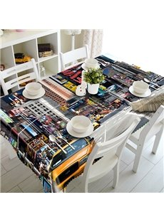 Modern Fashion City Scenery Pattern 3D Tablecloth