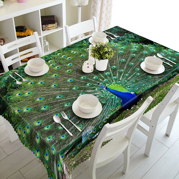 Green Peacock Pattern Polyester 3D Tablecloth