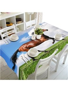 Brown Polyester Running Horse Pattern 3D Tablecloth