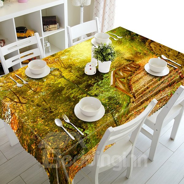 Stylish Polyester Forest and Bridge Pattern 3D Tablecloth
