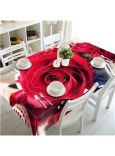 Beautiful Polyester Red Roses Pattern 3D Tablecloth