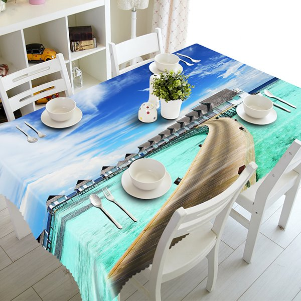 Blue Sky and Seaside Bridge Pattern 3D Tablecloth