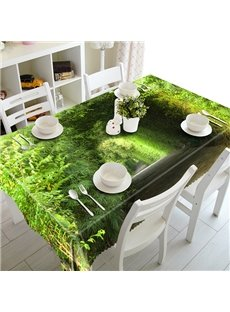 Green Polyester Tree Pattern 3D Tablecloth