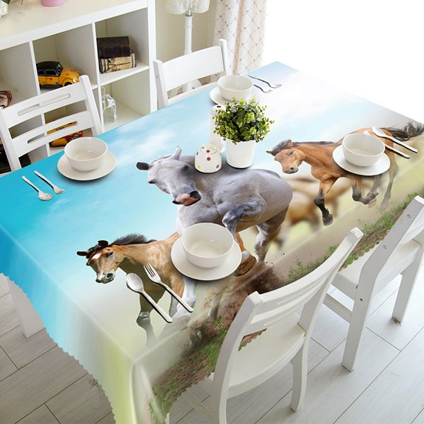 Vital Polyester Running Horses Pattern 3D Tablecloth