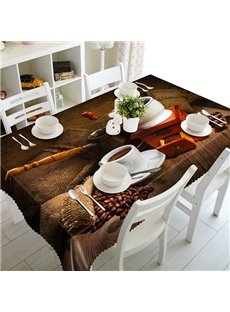 Brown Coffee Cup and Coffee Bean Pattern 3D Tablecloth
