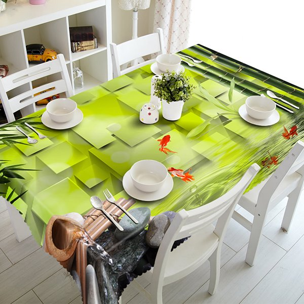 Fresh Green Bamboo and Fish Pattern 3D Tablecloth