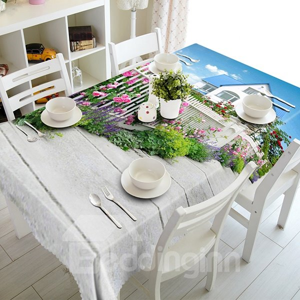 Amazing Villa Flower Fence Pattern 3D Tablecloth