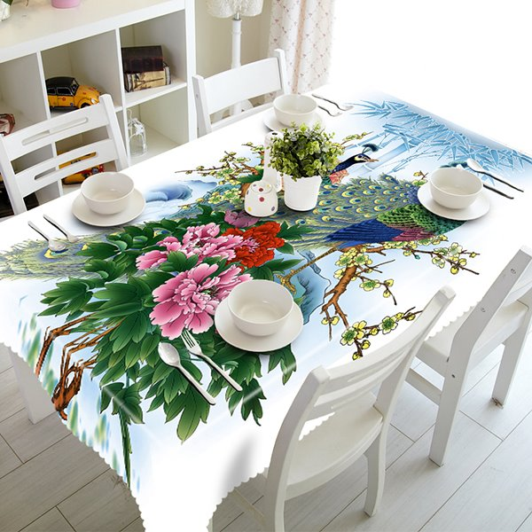 White Polyester Peacock and Flower Pattern 3D Tablecloth