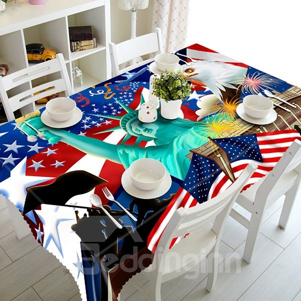 Statue of Liberty and National Flag Pattern 3D Tablecloth