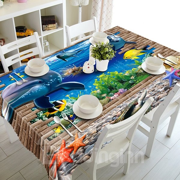 Amusing Broken Wall and Dolphin Pattern 3D Tablecloth
