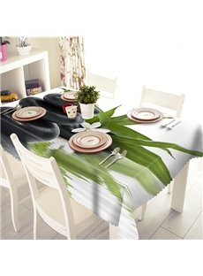 Bright Green Leaf and Stone Pattern 3D Tablecloth