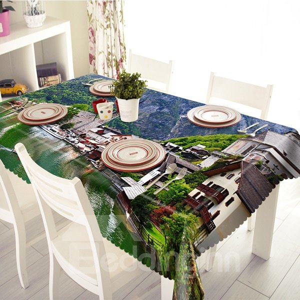Natural Village Household and Landscape Pattern 3D Tablecloth