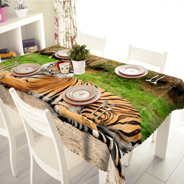 Polyester Leisurely Tiger Pattern 3D Tablecloth