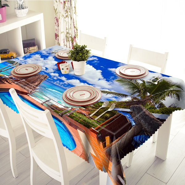 Luxurious Seaside Villa Scenery Pattern 3D Tablecloth