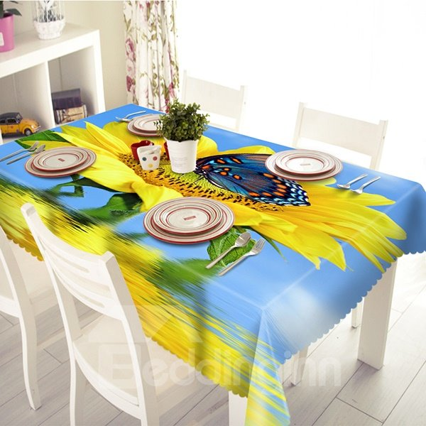 Wonderful Sunflower and Butterfly Pattern 3D Tablecloth