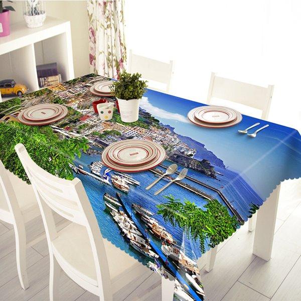 Blue Polyester Mediterranean Sea Style 3D Tablecloth