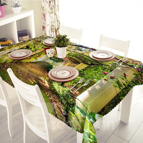 Green Polyester Tree and Road Pattern 3D Tablecloth